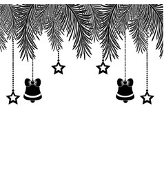 Contour garland with bells and stars hanging vector