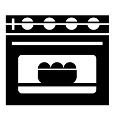 Cooked bread in oven icon simple style vector