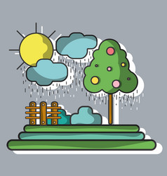 counds raining with tree and grid wool vector image