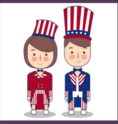 couple wear celebration usa america patriotism vector image