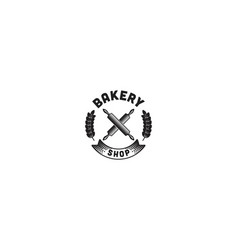 crossed rolling pin wheat grain bakery logo vector image