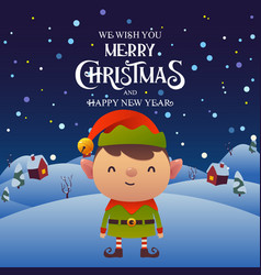 cute cartoon elf character merry christmas and vector image