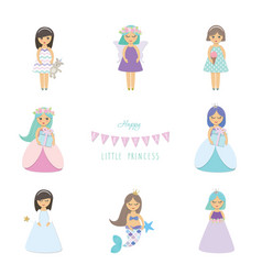 cute little girls princess mermaid angel fairy vector image