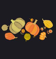 Cute simple naive pumpkin set vector