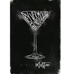 dirty martini cocktail chalk vector image