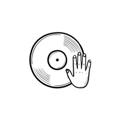 djing and remixing hand drawn outline doodle icon vector image