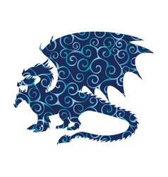 dragon fantastic pattern silhouette symbol vector image