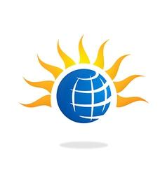 earth and sun logo vector image