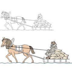 Farmer on the cart vector image