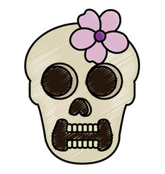 Female skull head with flower vector