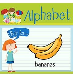 Flashcard alphabet B is for bananas vector