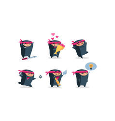flat set of cute ninja in different actions vector image