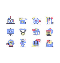 flat startup icon set with rocket presentation vector image