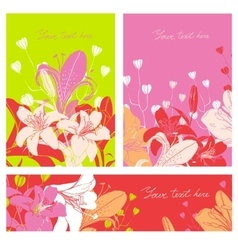 Floral card set with place for your text vector