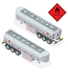 Fuel gas tanker truck isometric vector image