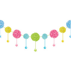 Fun set of hanging pastel colorful birthday vector