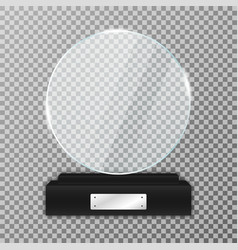 Glass trophy award on black stand realistic glass vector