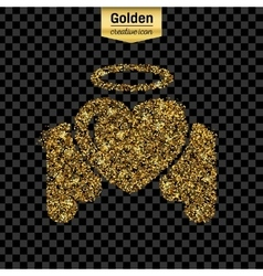 Gold glitter icon of angel heart isolated vector
