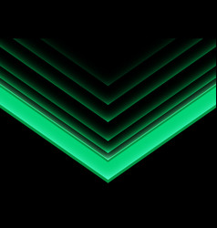 green arrow light neon direction on black vector image