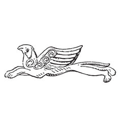 Griffin pendent vintage engraving vector