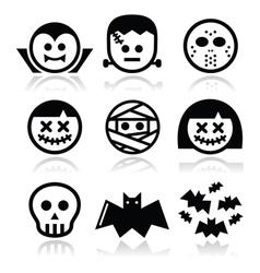 halloween characters - dracula frankenstein mumm vector image