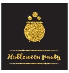 Halloween gold textured pot icon vector image