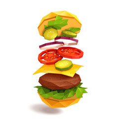 Hamburger flying ingredients vector