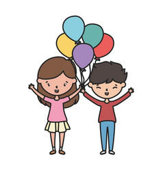 happy boy and girl with balloons decoration vector image