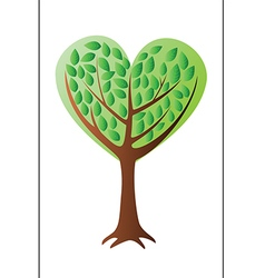 Heart tree with leafs vector image vector image