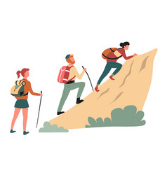 Hiking climbing cliff man and women hikers or vector