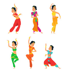 indian dancers isolate on white background vector image