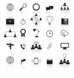 info technology icons the set with reflection vector image