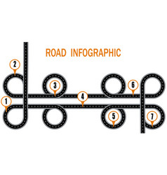 infographics a winding road and a circular motion vector image
