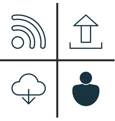 Internet icons set collection of wifi user vector