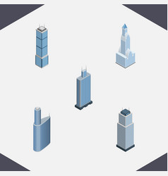 Isometric skyscraper set of apartment building vector