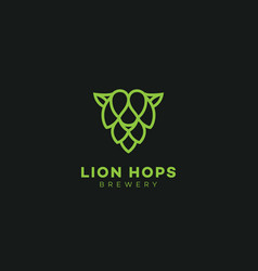 lion hops logo vector image