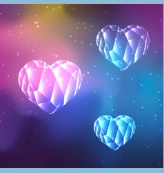 Low poly crystal hearts vector