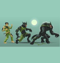 Man transformating werewolf vector