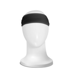 Mock up black bandana buff forehead on the vector