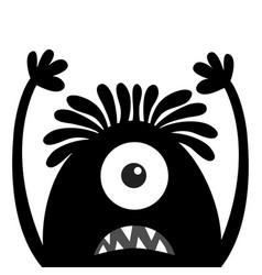 monster head black silhouette one eye hair teeth vector image