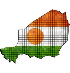 Niger map with flag inside vector image vector image