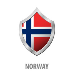 norway flag on metal shiny shield vector image
