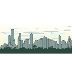 Outline silhouette of the city in green color vector