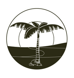 palm tree in desert round icon vector image