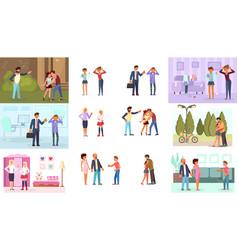 parent adolescent conflict concept vector image
