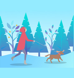 Person activity with dog in winter time vector