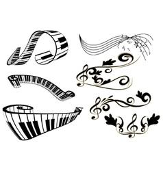 piano key board and key notes vector image