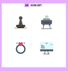 Pictogram set 4 simple flat icons stamp vector