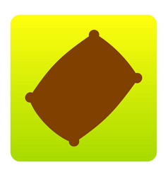 Pillow sign brown icon at vector