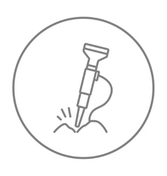 Pneumatic hammer drill line icon vector image